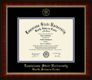 Louisiana State University Health Sciences Center Diploma Frame - Gold Embossed Diploma Frame in Murano