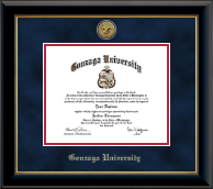 Gonzaga University Diploma Frame - Gold Engraved Medallion Diploma Frame in Onyx Gold