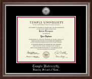Temple University Law School Diploma Frame - Silver Engraved Law Medallion Diploma Frame in Devonshire
