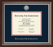 University of the Cumberlands Diploma Frame - Silver Engraved Medallion Diploma Frame in Devonshire