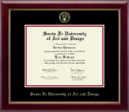Santa Fe University of Art and Design Diploma Frame - Gold Embossed Diploma Frame in Gallery