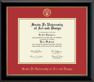 Santa Fe University of Art and Design Diploma Frame - Gold Embossed Diploma Frame in Onyx Gold