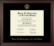 Santa Fe University of Art and Design Diploma Frame - Gold Embossed Diploma Frame in Studio