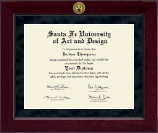 Santa Fe University of Art and Design Diploma Frame - Millennium Gold Engraved Diploma Frame in Cordova