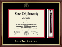 Texas Tech University Diploma Frame - Tassel Diploma Frame in Southport Gold