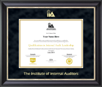 The Institute of Internal Auditors Certificate Frame - Gold Embossed Certificate Frame in Noir