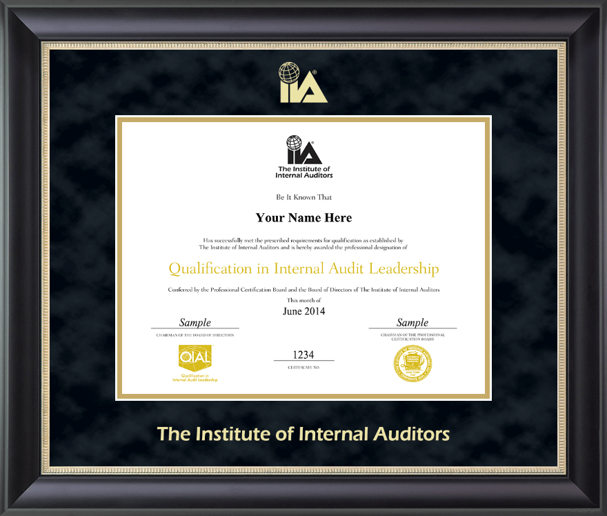 The Institute of Internal Auditors Gold Embossed Certificate Frame ...
