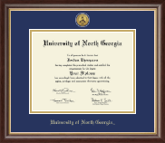 University of North Georgia Diploma Frame - Gold Engraved Medallion Diploma Frame in Prescott