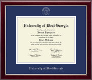 University of West Georgia Diploma Frame - Silver Embossed Diploma Frame in Gallery Silver