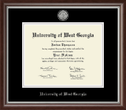 University of West Georgia Diploma Frame - Silver Engraved Medallion Diploma Frame in Devonshire
