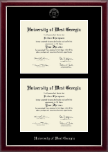 University of West Georgia Diploma Frame - Double Diploma Frame in Gallery Silver