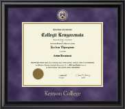 Kenyon College Diploma Frame - Masterpiece Medallion Diploma Frame in Midnight