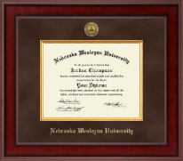 Nebraska Wesleyan University Diploma Frame - Presidential Gold Engraved Diploma Frame in Jefferson