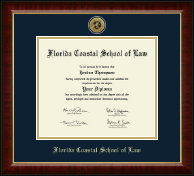 Florida Coastal School of Law Diploma Frame - Gold Engraved Medallion Diploma Frame in Murano