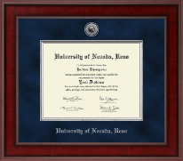 University of Nevada Reno Diploma Frame - Presidential Silver Engraved Diploma Frame in Jefferson