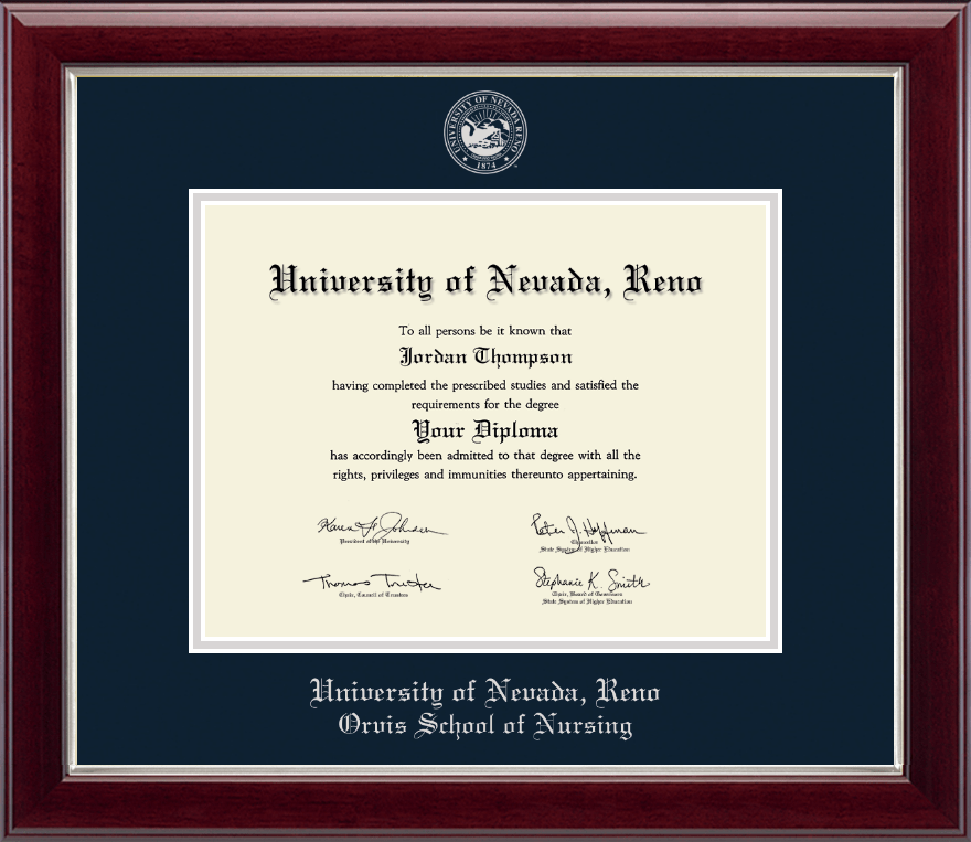 University Of Nevada Reno Silver Embossed Diploma Frame In