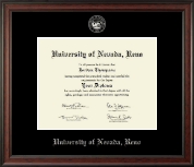 University of Nevada Reno Diploma Frame - Silver Embossed Diploma Frame in Studio