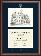 University of Nevada Reno Diploma Frame - Campus Scene Overly Edition Diploma Frame in Devonshire