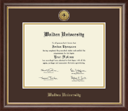 Walden University Diploma Frame - Gold Engraved Medallion Diploma Frame in Prescott