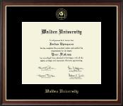 Walden University Diploma Frame - Gold Embossed Diploma Frame in Studio Gold