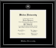 Walden University Diploma Frame - Silver Embossed Diploma Frame in Onyx Silver