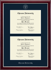 Chowan University Diploma Frame - Double Diploma Frame in Gallery Silver
