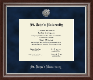 St. John's University, New York Diploma Frame - Silver Engraved Medallion Diploma Frame in Devonshire