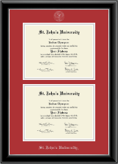 St. John's University, New York Diploma Frame - Double Diploma Frame in Onyx Silver