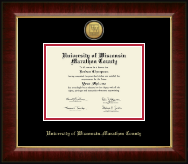 University of Wisconsin Wausau Diploma Frame - Gold Engraved Medallion Diploma Frame in Murano