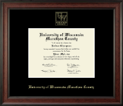 University of Wisconsin Wausau Diploma Frame - Gold Embossed Diploma Frame in Studio