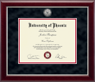 University of Phoenix Diploma Frame - Silver Engraved Medallion Diploma Frame in Gallery Silver