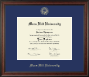 Mars Hill University Diploma Frame - Gold Embossed Diploma Frame in Studio