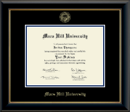 Mars Hill University Diploma Frame - Gold Embossed Diploma Frame in Onyx Gold