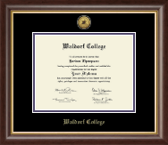 Waldorf College Diploma Frame - Gold Engraved Medallion Diploma Frame in Hampshire