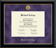 Waldorf College Diploma Frame - Gold Engraved Medallion Diploma Frame in Onyx Gold