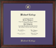 Waldorf College Diploma Frame - Gold Embossed Diploma Frame in Studio