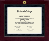 Waldorf College Diploma Frame - Millennium Gold Engraved Diploma Frame in Cordova