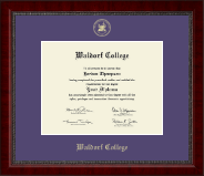 Waldorf College Diploma Frame - Gold Embossed Diploma Frame in Sutton