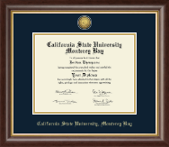 California State University Monterey Bay Diploma Frame - Gold Engraved Medallion Diploma Frame in Hampshire