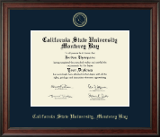 California State University Monterey Bay Diploma Frame - Gold Embossed Diploma Frame in Studio