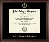 Palmer College of Chiropractic Iowa Diploma Frame - Gold Embossed Diploma Frame in Studio