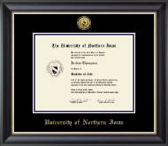 University of Northern Iowa Diploma Frame - Gold Engraved Medallion Diploma Frame in Noir