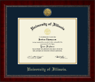 University of Illinois Diploma Frame - Gold Engraved Medallion Diploma Frame in Sutton