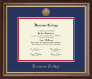 Hanover College Diploma Frame - Gold Engraved Medallion Diploma Frame in Hampshire