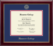 Hanover College Diploma Frame - Gold Embossed Diploma Frame in Gallery