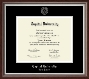 Capital University Law School Diploma Frame - Silver Embossed Diploma Frame in Devonshire