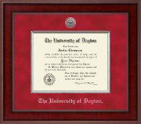 University of Dayton Diploma Frame - Presidential Silver Engraved Diploma Frame in Jefferson