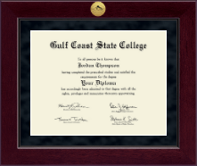 Gulf Coast State College Diploma Frame - Millennium Gold Engraved Diploma Frame in Cordova