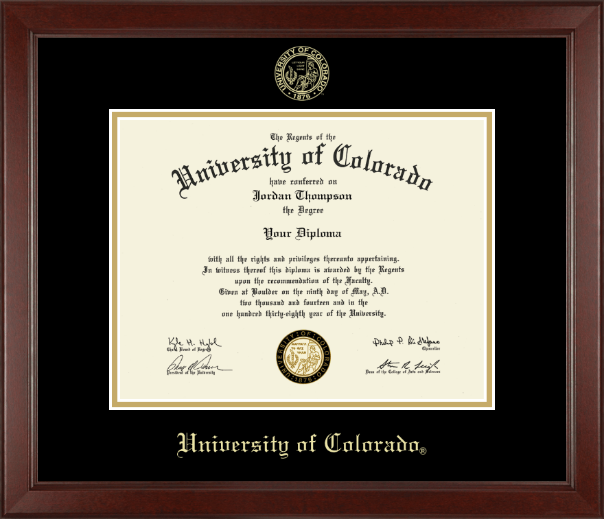 University Of Colorado Gold Embossed Diploma Frame In