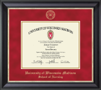 University of Wisconsin Madison Diploma Frame - Gold Embossed Diploma Frame in Noir